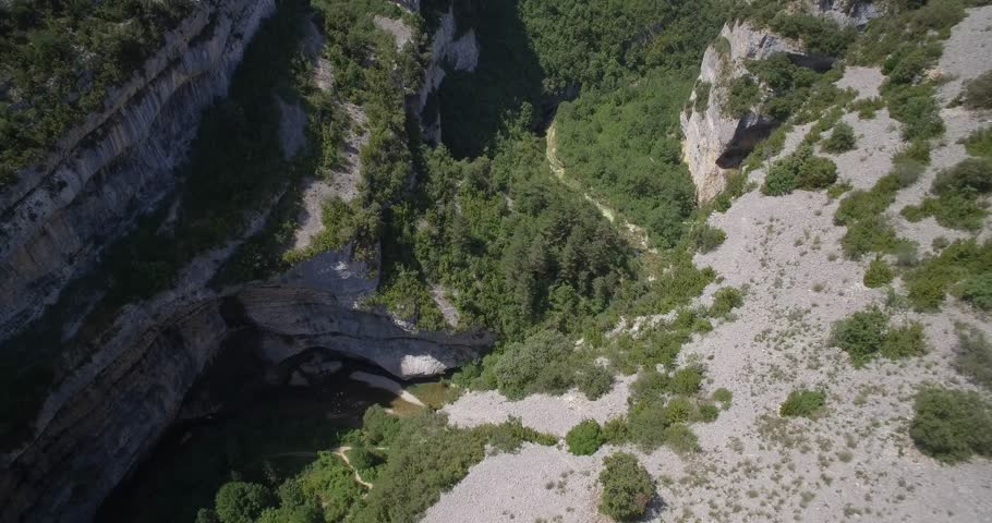 Aerial, Barranco De Argatin At Rio Vero, Pyrenees, Spain - Native Material, straight out of the cam, watch also for a graded and stabilized version.