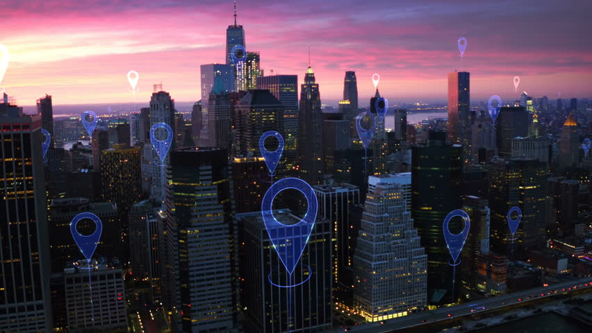 Aerial smart city. Localization icons in a connected futuristic city.  Technology concept, data communication, artificial intelligence, internet of things. New York City skyline. | Shutterstock HD Video #1016477812
