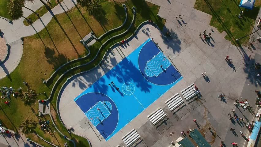 Aerial view of Venice Beach Basketball Court in Los Angeles, California, United States. Drone shot. | Shutterstock HD Video #1016478742