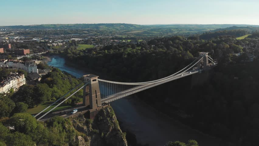Aerial drone shot of Clifton Suspension Bridge & Observatory, Bristol | Shutterstock HD Video #1016499442