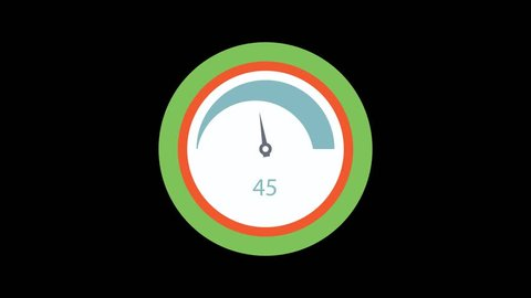 Colorful Tachometer icon animation. Isolated on black background.