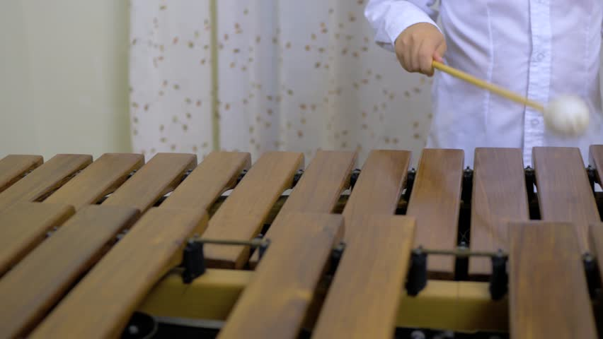 A boy is playing marimba with two mallets. Practicing music at home. Keyboard percussion instrument with wooden keys.