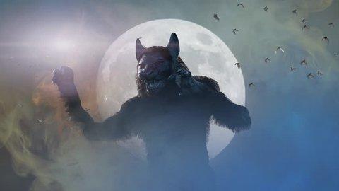 man turns into a werewolf on a dark background 3D render
