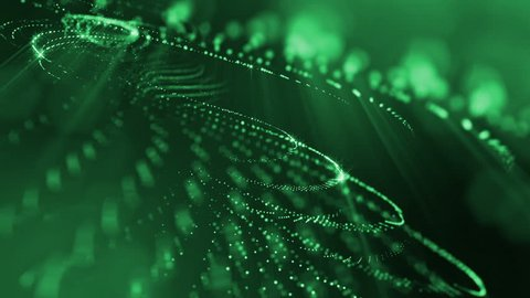 Dark composition with oscillating luminous green particles that form wavy surface. Smooth animation looped. Abstract background of glowing particles with shining bokeh sparkles. science fiction 24