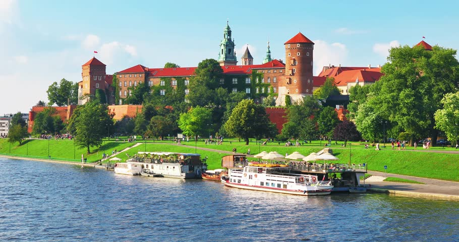 Scenic summer view of the Wawel Castle fortress, Cathedral Church and Vistula river embankment in the Old Town of Krakow, Poland