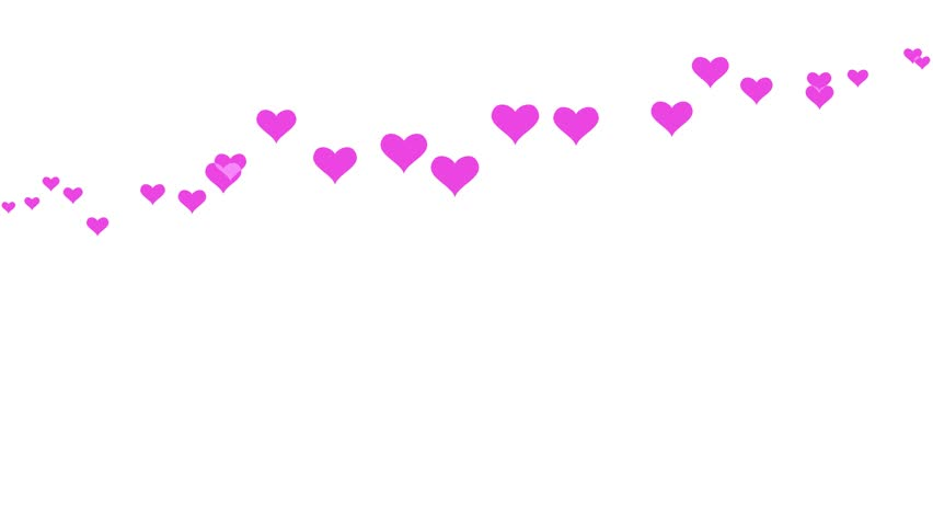 Animated pink hearts moving on white background. Romantic backdrop animation for Valentines day.