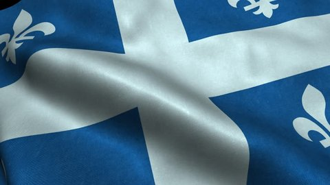 Photorealistic 4k Close up of quebec flag slow waving with visible wrinkles and realistic fabric. A fully digital rendering, 3D Animation. 15 seconds 4K, Ultra HD resolution quebec flag animation.