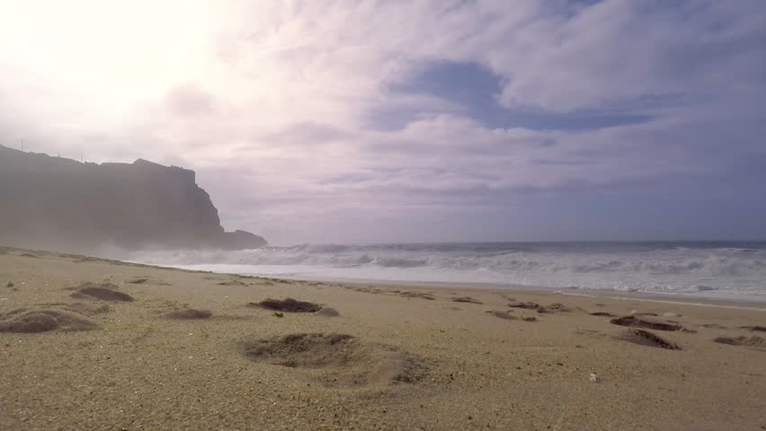 Oceanic landscape. Waves on the Atlantic ocean, North Beach in Nazare, Portugal.