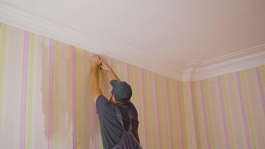 the wallpaper off the walls. Repair