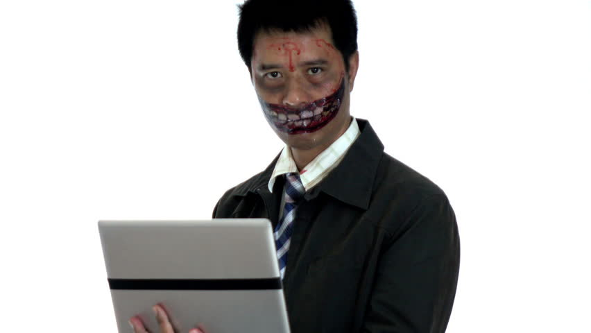 Devil using computer for business in halloween themes | Shutterstock HD Video #1016562652