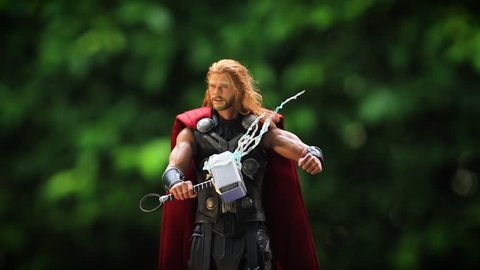 BANGKOK THAILAND - SEPTEMBER 19 ,2018 : Close up shot of THOR AVENGERS 2 superheros figure in action fighting. Thor appearing in American comic books by Marvel.