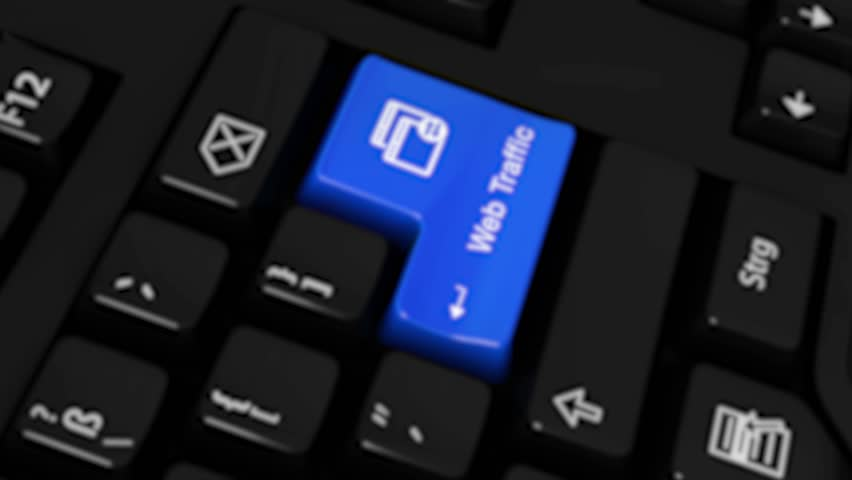 Web Traffic Rotation Motion On Blue Enter Button On Modern Computer Keyboard with Text and icon Labeled. Selected Focus Key is Pressing Animation. Website Development Concept