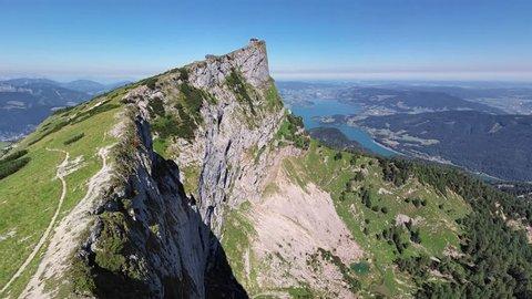 360 degrees seamless looped aerial panorama of Schafberg viewpoint in Salzkammergut, Upper Austria. Looping