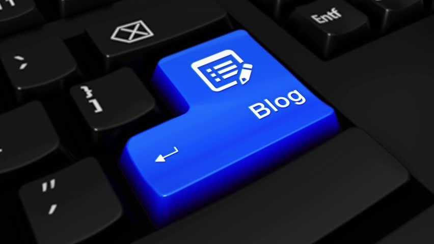 Blog Round Motion On Blue Enter Button On Modern Computer Keyboard with Text and icon Labeled. Selected Focus Key is Pressing Animation. social media | Shutterstock HD Video #1016700262