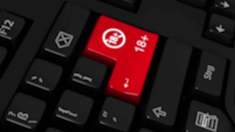 Adult Only 18 Plus Rotation Motion On Red Enter Button On Modern Computer Keyboard with Text and icon Labeled. Selected Focus Key is Pressing Animation.