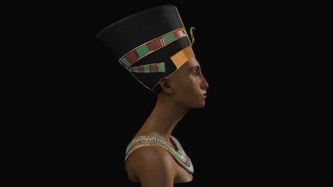 Nefertiti Queen of Egypt reconstruction Infinite rotating bust - CGI Egyptian Pharaoh headdress with gold necklace inspired by plaster bust, decoration, Makeup, black background. Ancient Egypt