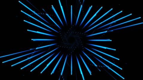 Dynamic lights triangle hexagon circles tunnel 4k 3840x2160. Can be used as futuristic, sci-fi, neon lights background. Seamless loop.