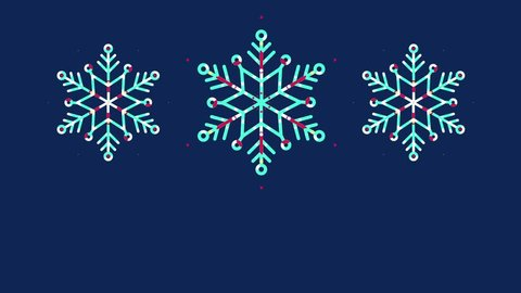 Winter Christmas background with motion snowflakes. Animation flat line. Place for text