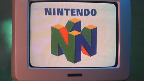 MONTREAL, CANADA - September 2018 : Old tube TV with Nintendo logo on its screen giving a vintage 80s 90s 00s image to the company.