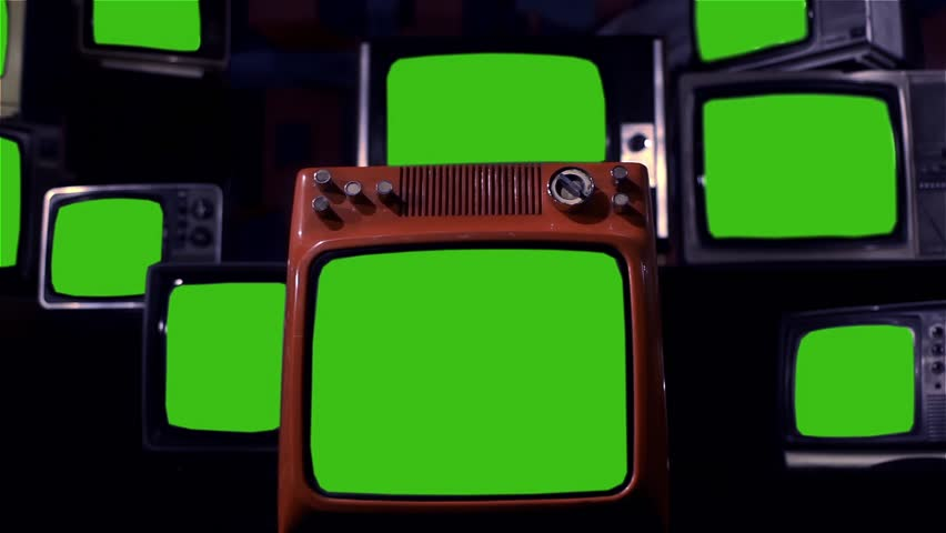 "Stack of Retro TVs Green Screen. Night Tone. Zoom Out. You can Replace Green Screen with the Footage or Picture you Want with ""Keying"" effect in After Effects (check out tutorials on YouTube).  