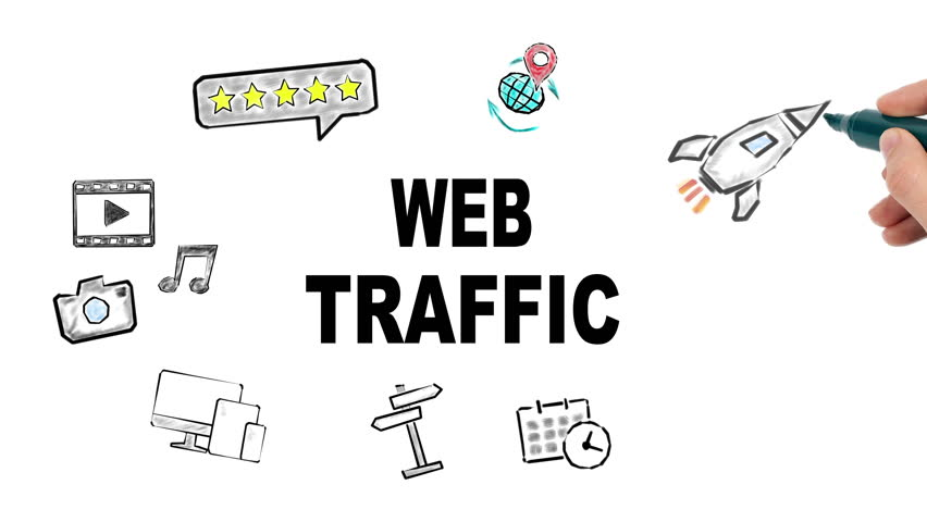 web traffic internet and social media concept, illustration in motion, hand drawing related icons
