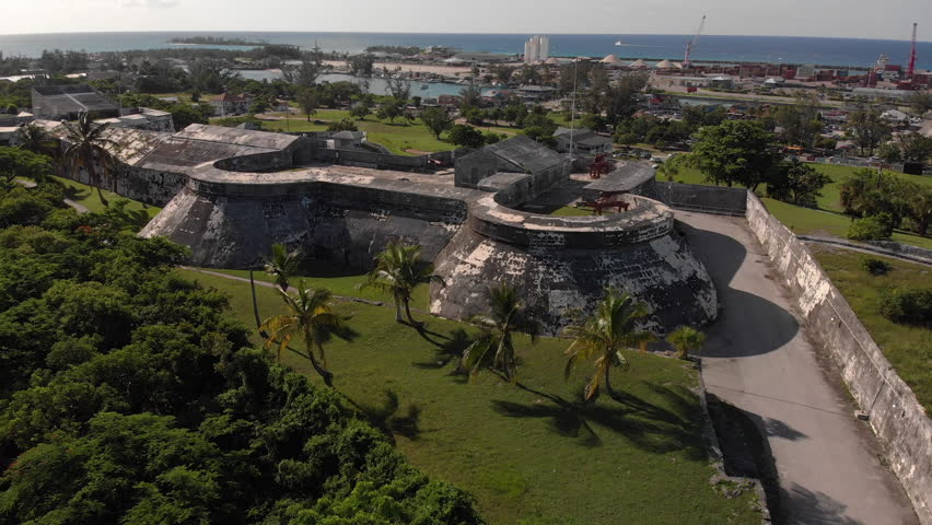 4K Cinematic Aerial Flythrough over the top of the historical Fort Charlotte in Nassau Bahamas.