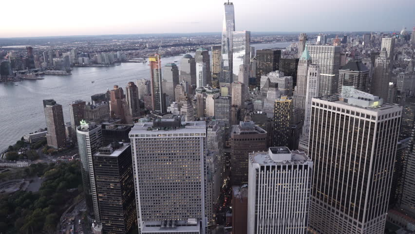 New York City Circa-2015, aerial view of Lower Manhattan Financial District at dusk from East River
