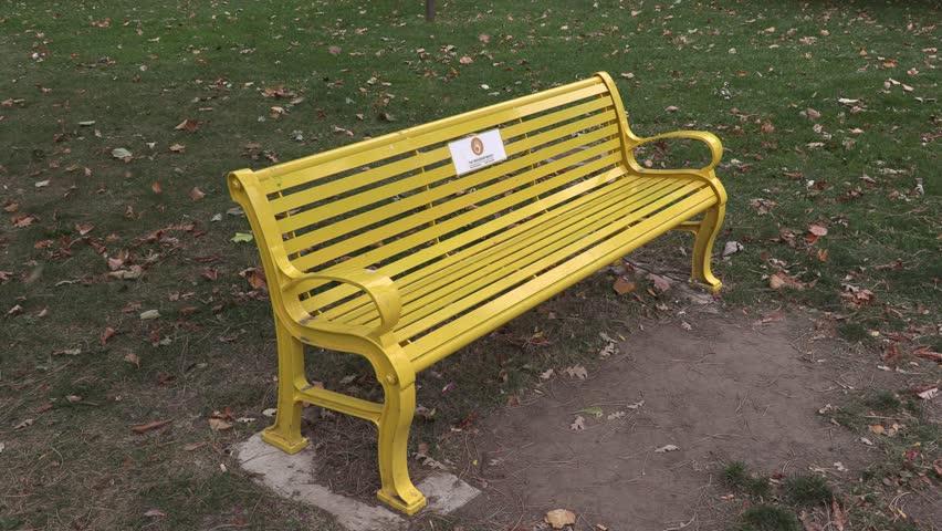 Guelph Ontario Canada September 2018 Yellow Friendship Bench On