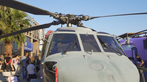 Thessaloniki, Greece - September 10 2018: Sikorsky Seahawk naval military helicopter displayed during a fair. Hellenic Navy S-70 Seahawk helicopter exhibit during 83rd International Fair.