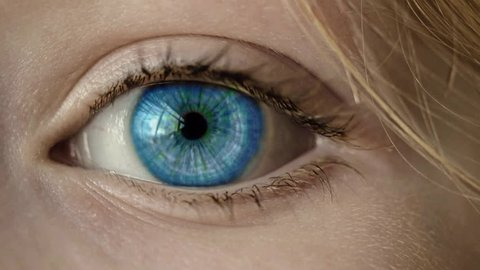 Macro blue green hypnotic eye pupil iris wave propagation cinemagraph plotagraph fantasy concept
