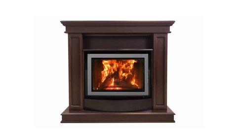 Burning Luxury Fireplace Isolated On White Background