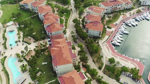 Top view, marina, yacht parking, yacht club / Dominican Republic, Cap Cana, areal view, beautiful city, travel, city streets, luxury area. country houses. Dominican Republic Cap Cana Villas