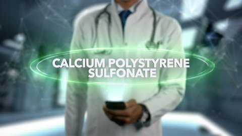 CALCIUM POLYSTYRENE SULFONATE - Male Doctor With Mobile Phone Opens and Touches Hologram Active Ingrident of Medicine