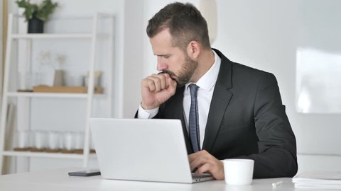 Cough, Businessman Coughing at Work