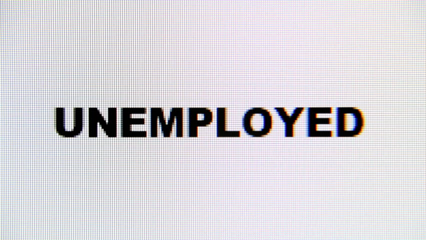 Typing the word Unemployed on a computer monitor. Macro detail shot.  | Shutterstock HD Video #1017158782