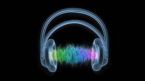 Hologram of headphones with colorful sound wave. Loop ready animation of headphones and waveform.