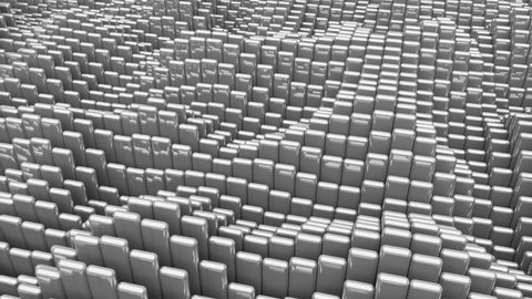 Waving surface with glossy rounded gray cubes animation background