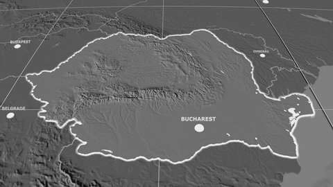 Zoom-in on Romania extruded on the globe. Capital, administrative borders and graticule. Elevation & bathymetry - grayscale contrasted