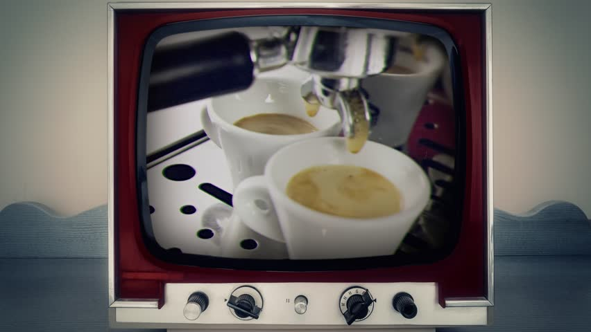 A retro vintage TV showing two cups full of coffee pouring from a machine.