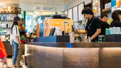 NAKHON RATCHASIMA, THAILAND - 28 SEP 2018 : time lapse of Starbucks Reserve customers inside Teminal 21 Mall at Nakhon Ratchasima, Thailand