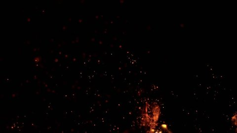 Super slow motion of fire sparks isolated on black background. Filmed on high speed camera, 1000 fps