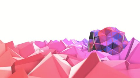 Pink and purple low poly background. abstract animation. 3d rendering