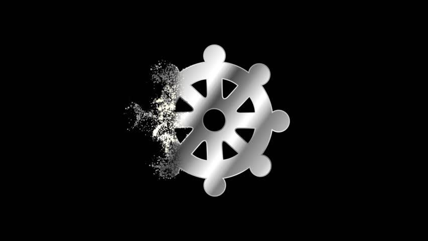 Wheel of Dharma Religious symbol Animation, Particle Animation of Religious Icon Buddha eye. Religious sign Wheel of Dharma Animation.