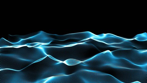 Abstract blue wavy lines. Digital data and network connection dots in technology concept on black background, abstract illustration