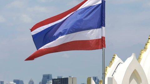 Fluttering Thailand national flag, super slow motion 240fps