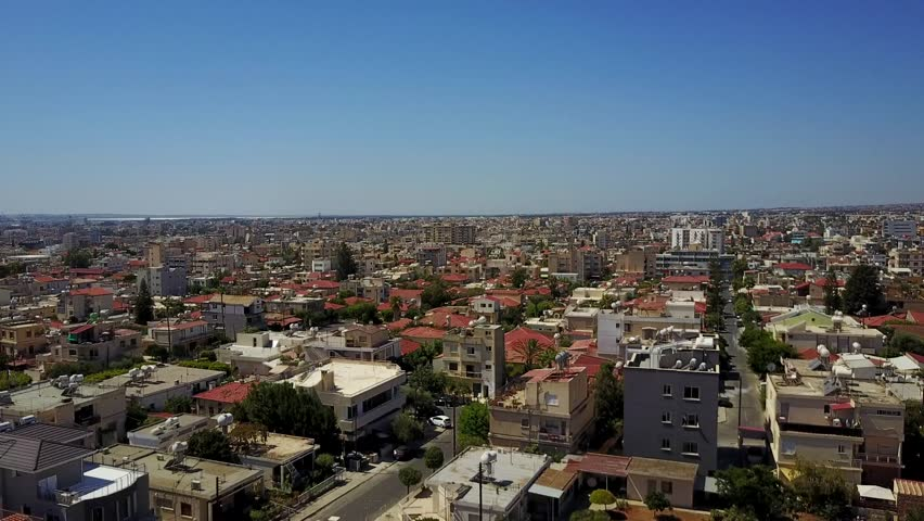 Aerial of Limassol city in Cyprus taken by drone