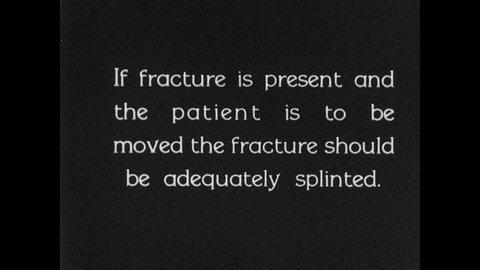 1930s: UNITED STATES: medics splint fractured leg. Men set up for portable x-ray of patient. Man lifts patient's leg. Men apply splint.