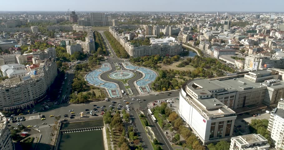 Aerial view of Unirii Square, Bucharest Romania on a sunny day.