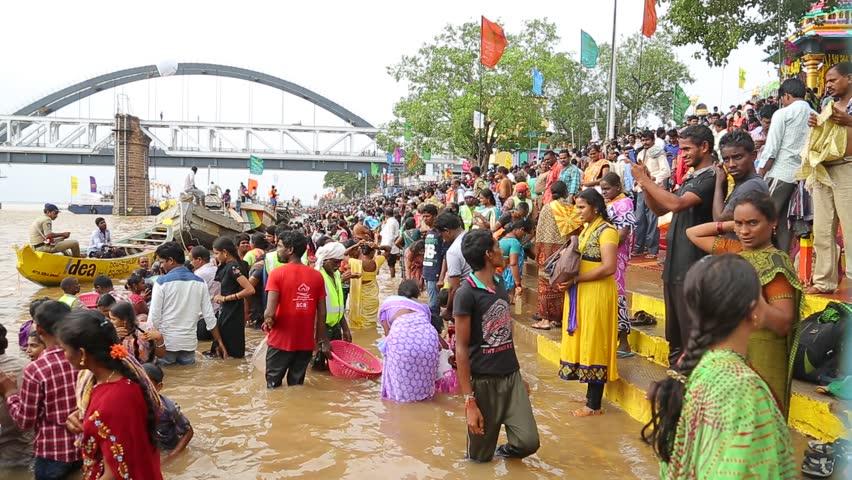 People Bathing in the River at Carnival Andhra Pradesh India 20th Jan 2018