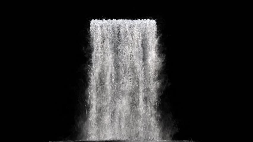 Waterfall texture seamless loop, 4k, isolated on black with alpha and separate foam layer | Shutterstock HD Video #1017734482